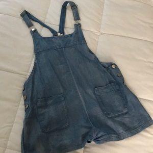 Light denim short overalls/maternity